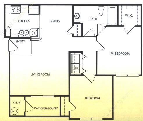 956 sq. ft. A/60 floor plan