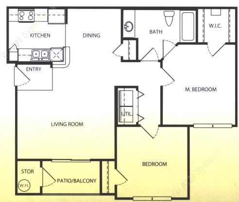956 sq. ft. A/60 floor plan