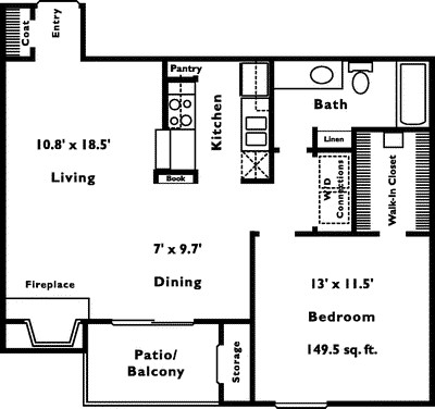 729 sq. ft. 1B floor plan
