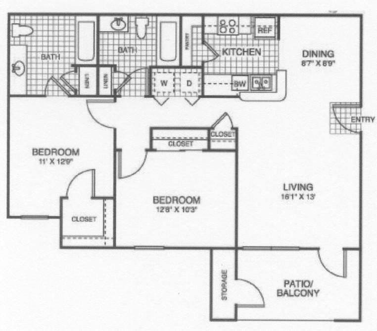 950 sq. ft. 60/YELLOW ROSE floor plan