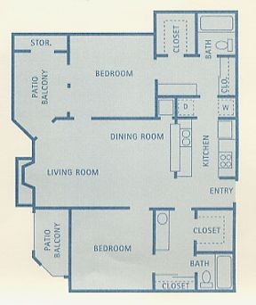942 sq. ft. B3 floor plan