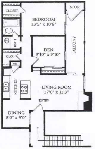825 sq. ft. BFP-P2 floor plan