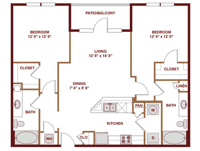 1,082 sq. ft. C400 floor plan