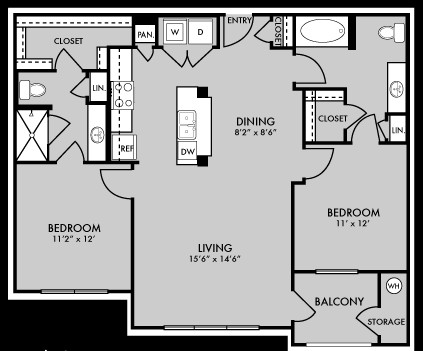 1,087 sq. ft. B1 floor plan