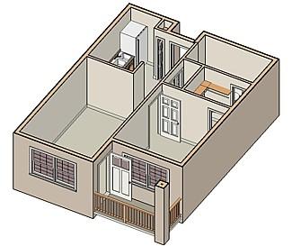 732 sq. ft. 30% floor plan