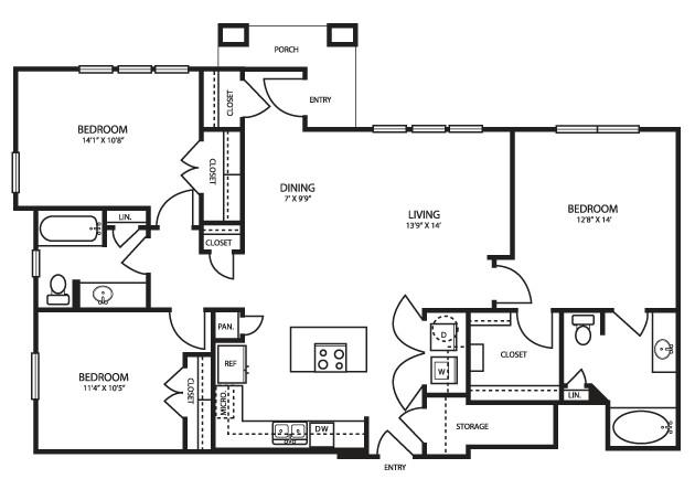 1,394 sq. ft. C11 floor plan