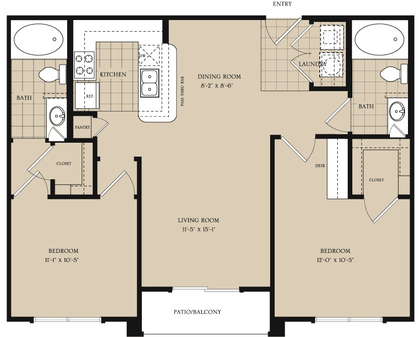 944 sq. ft. B1.1 floor plan
