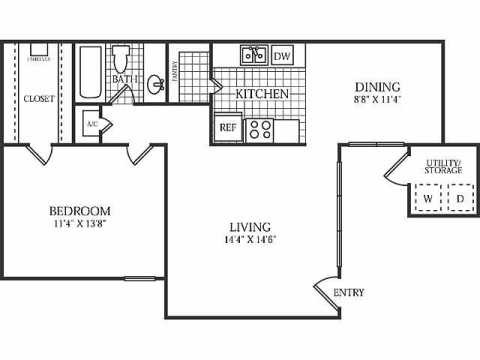 738 sq. ft. B floor plan