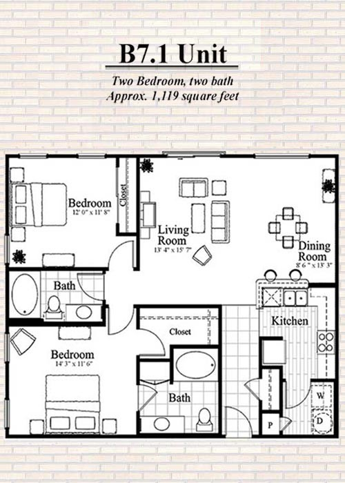 1,119 sq. ft. to 1,289 sq. ft. B7 floor plan