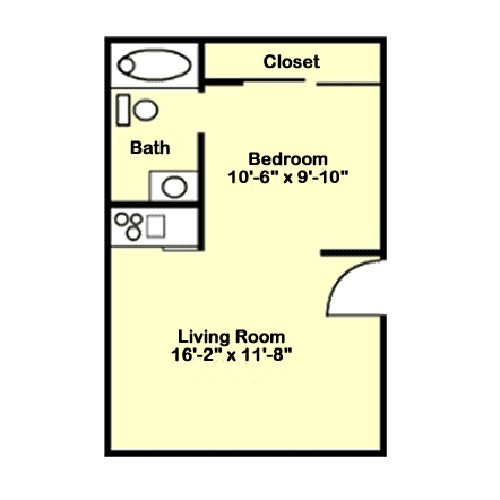 384 sq. ft. A1 floor plan