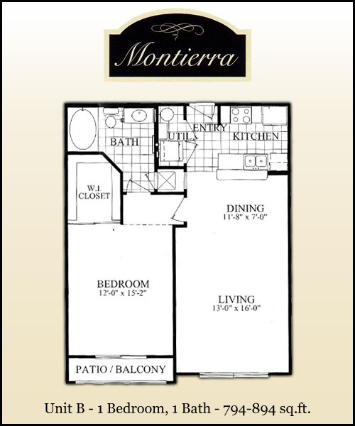 794 sq. ft. B2 floor plan