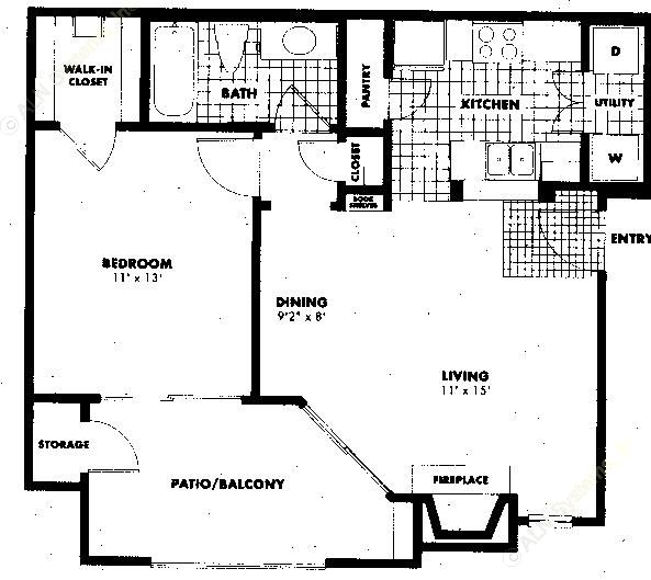 641 sq. ft. to 779 sq. ft. A1 floor plan