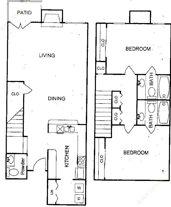 1,098 sq. ft. floor plan