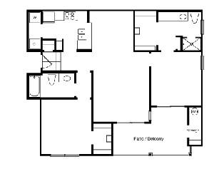 1,034 sq. ft. B2 floor plan