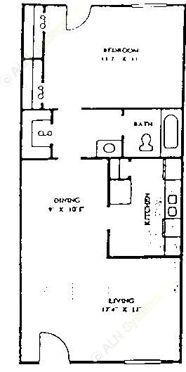 730 sq. ft. 60% floor plan