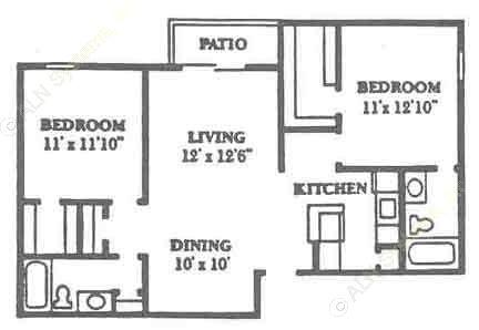 926 sq. ft. B2 floor plan