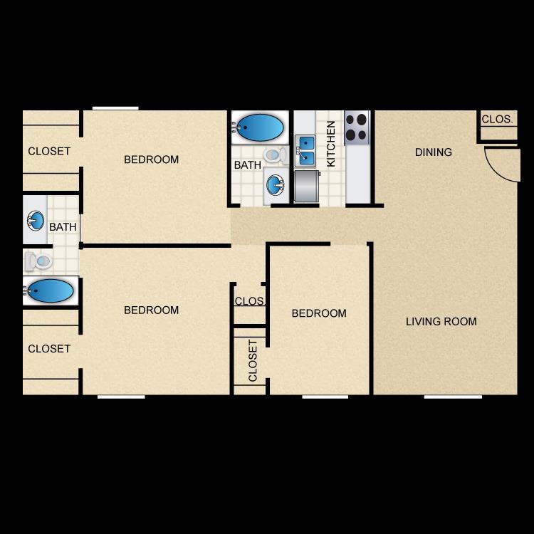1,054 sq. ft. C1 floor plan