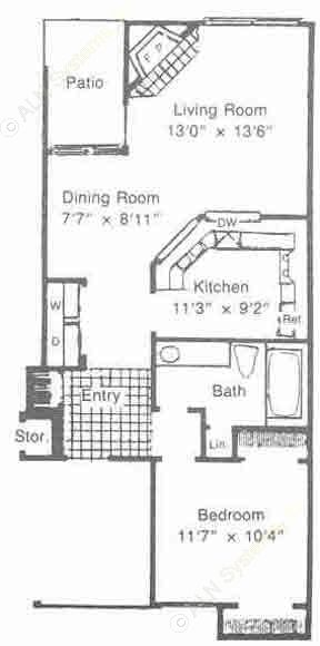 685 sq. ft. to 703 sq. ft. A2 floor plan