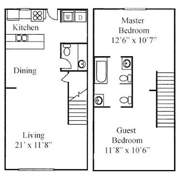 1,012 sq. ft. B floor plan