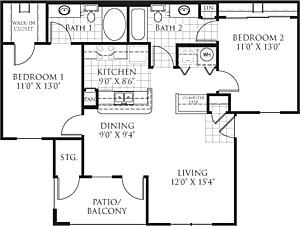 935 sq. ft. B1 floor plan