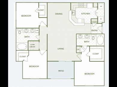 1,360 sq. ft. C3.2 floor plan