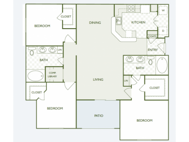 1,360 sq. ft. C3.2 floor plan
