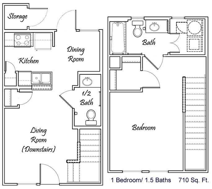 710 sq. ft. A1/A2/60% floor plan