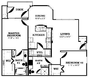 1,056 sq. ft. LAVACA-D floor plan