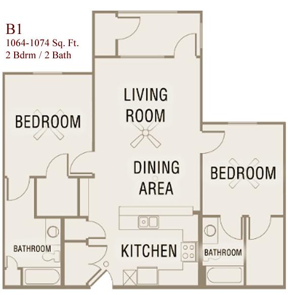 1,064 sq. ft. to 1,074 sq. ft. B1-50 floor plan