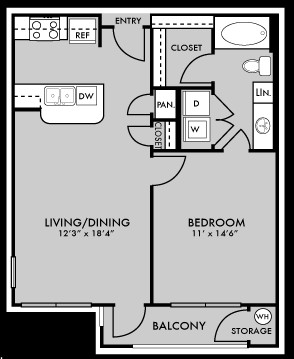 675 sq. ft. to 695 sq. ft. A1 floor plan