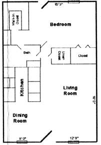664 sq. ft. A floor plan