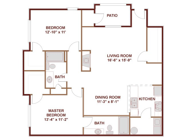 1,171 sq. ft. to 1,415 sq. ft. 22C floor plan