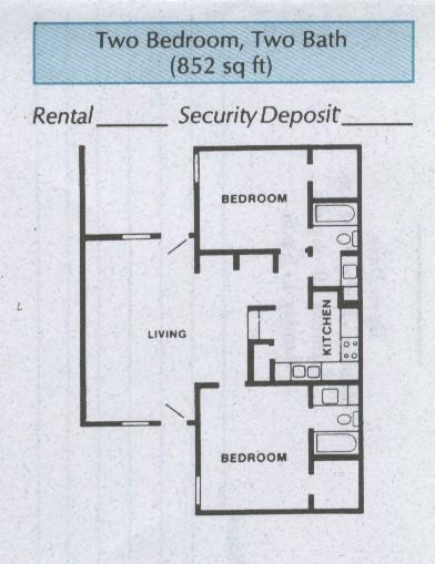 852 sq. ft. B1 floor plan
