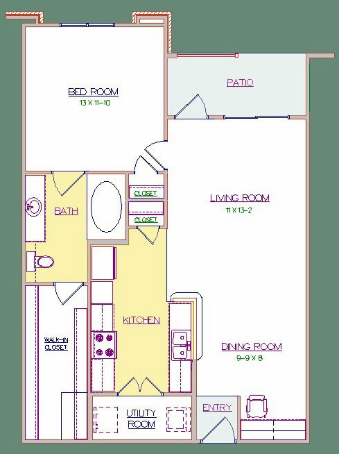 729 sq. ft. 60% HC floor plan