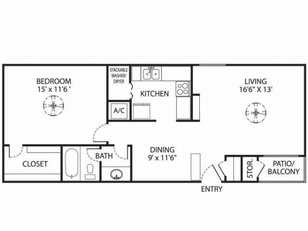 774 sq. ft. A-2 floor plan