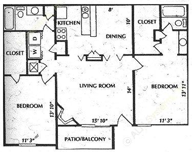 1,040 sq. ft. B2 floor plan