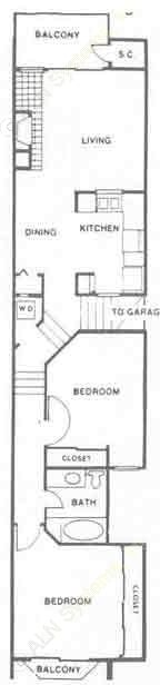 984 sq. ft. B floor plan