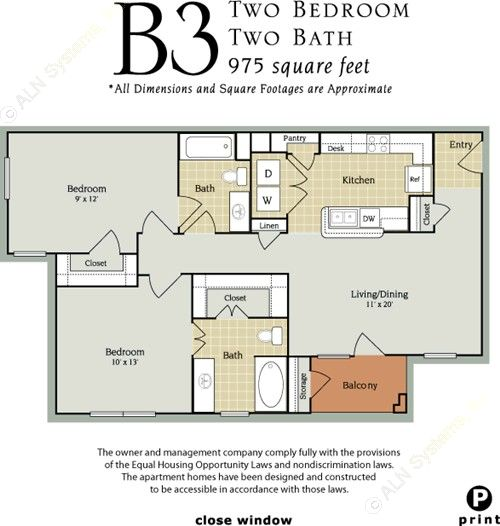 975 sq. ft. B3/60% floor plan