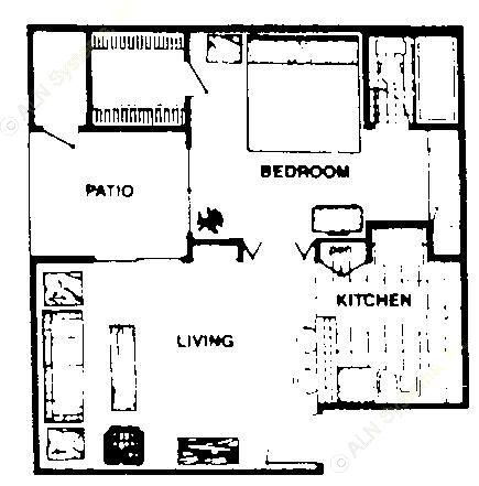 538 sq. ft. A1  JR floor plan