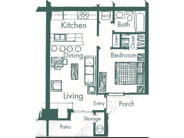 550 sq. ft. B floor plan
