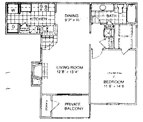 700 sq. ft. B1/60 floor plan