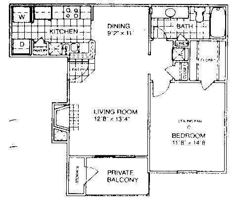 700 sq. ft. B1/60% floor plan