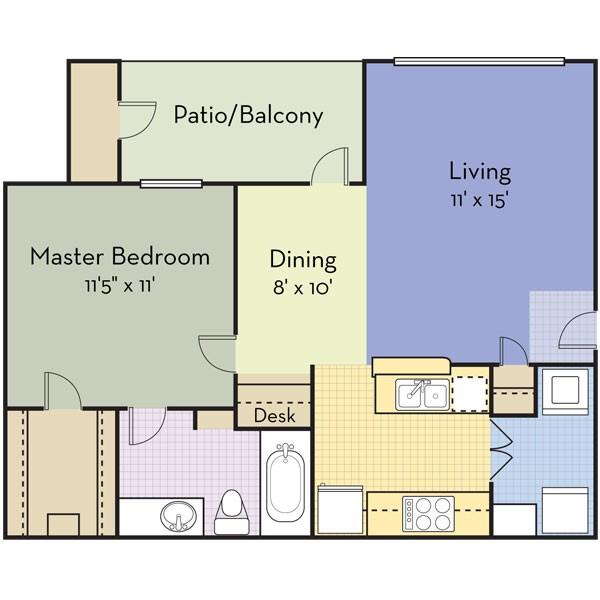 661 sq. ft. SAN RAFAEL floor plan