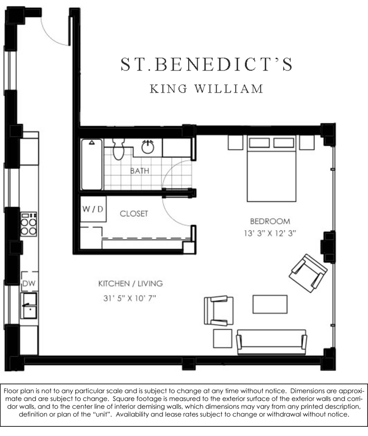 884 sq. ft. E floor plan