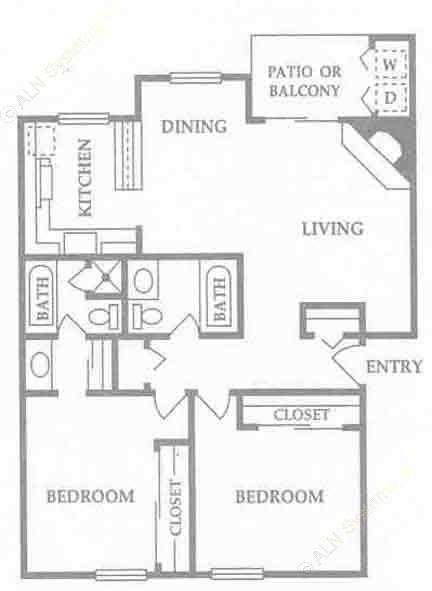 1,100 sq. ft. C floor plan