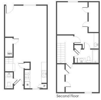 1,187 sq. ft. E floor plan