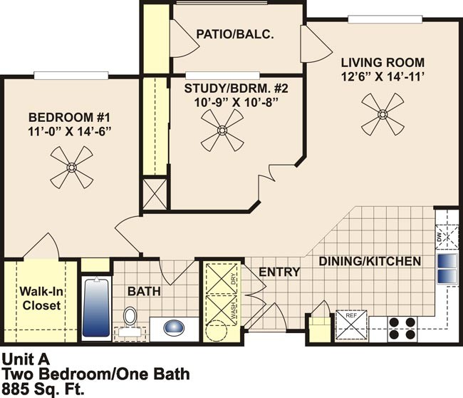 885 sq. ft. 60 floor plan
