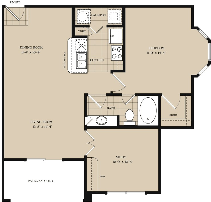 884 sq. ft. A3 floor plan