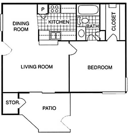 565 sq. ft. BS floor plan