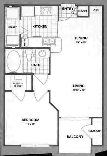 565 sq. ft. A1 floor plan
